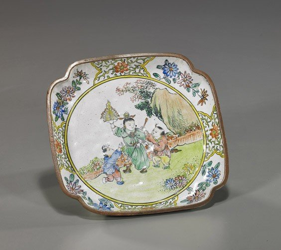83: Antique Chinese Enamel on Copper Dish
