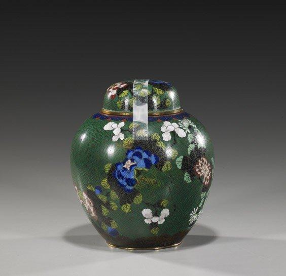90: Chinese Green Ground Cloisonné Enamel Jar