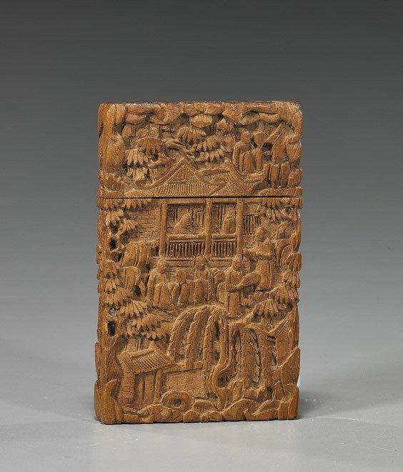 94: Antique Carved Sandalwood Card Case