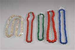129: Five Various Chinese Bead Necklaces