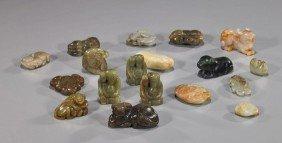 18 Various Carved Jade Toggles & Pebbles