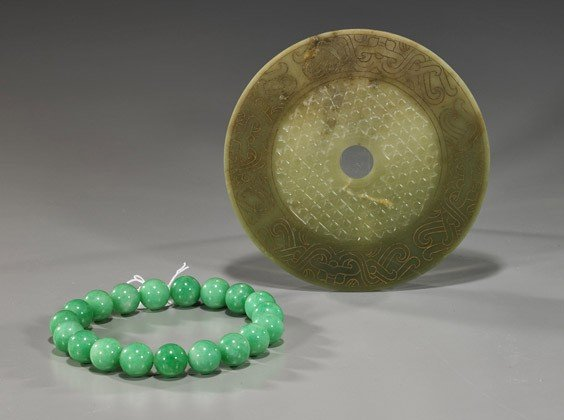 169: Two Chinese Jade-Like Items: Necklace & Bi