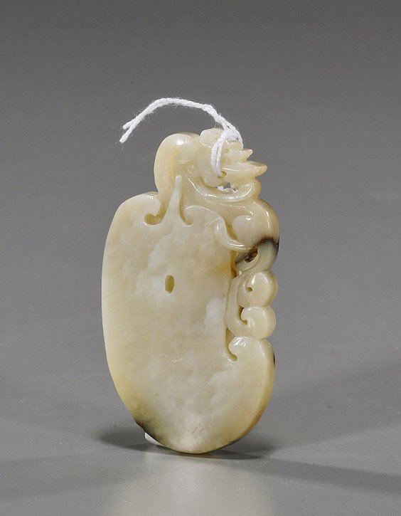 172: Chinese Archaistic Carved Oval Jade