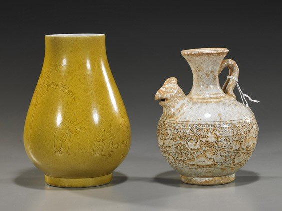 179: Two Chinese Ceramic Vessels: Vase & Ewer
