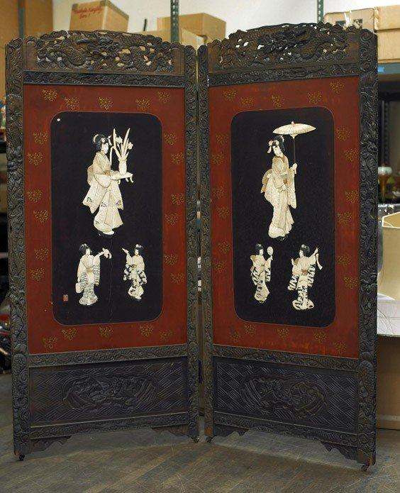 182: Antique Japanese Two-Panel Appliqué Screen