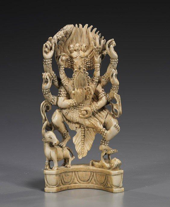 188: Sino-Tibetan Carved Ivory Deity Group