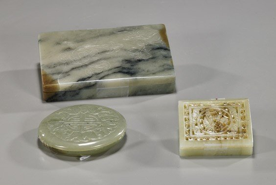 190: Three Various Chinese Carved Jade Boxes