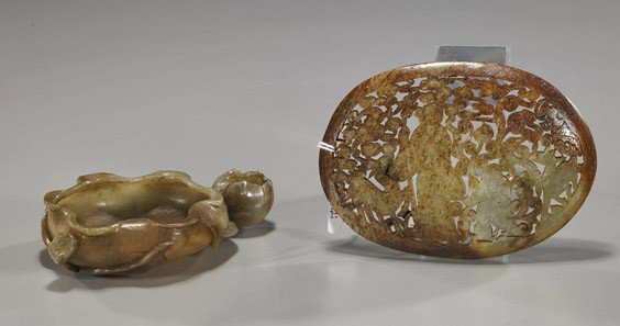 192: Two Chinese Carved Jades: Washer & Shoulao