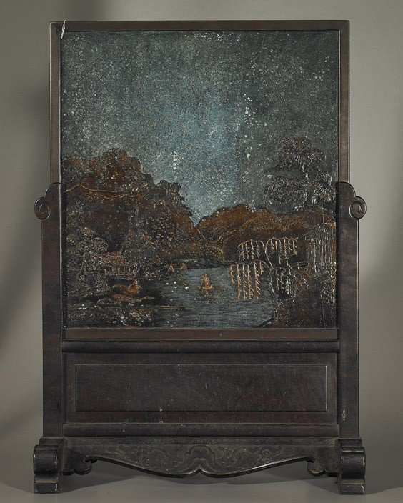 238: Tall Antique Chinese Lacquer Tablescreen
