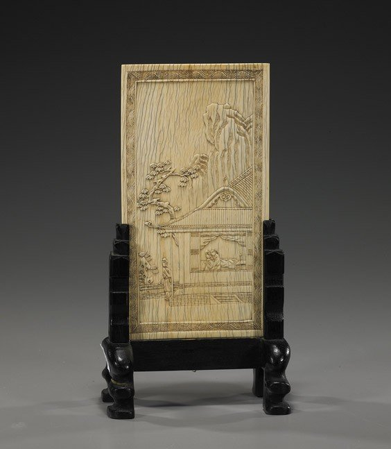 308: Antique Chinese Carved Ivory Tablescreen