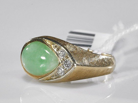 314: Ladies' 14K Gold and Jade Ring