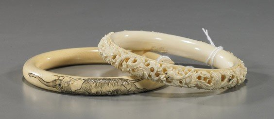 395: Two Chinese Carved Ivory Bracelets