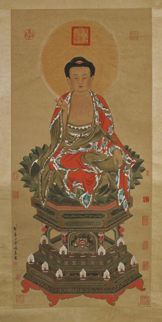 563: Chinese Paper Scroll: Colorful Buddha