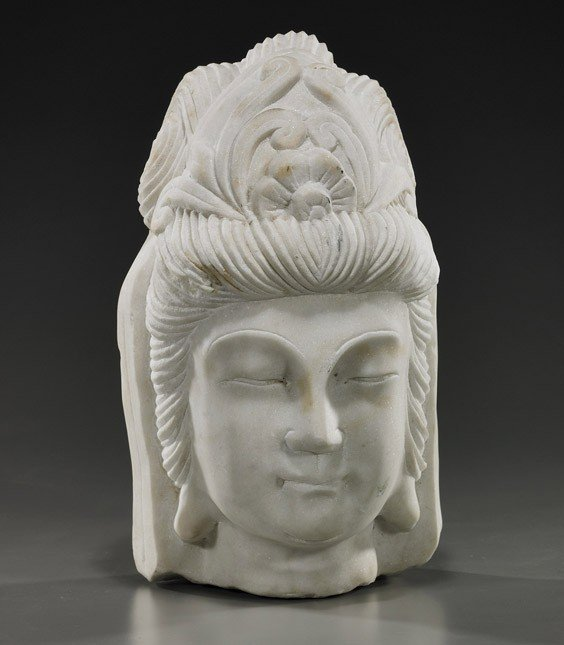 9: Chinese Carved Marble Head of Guanyin