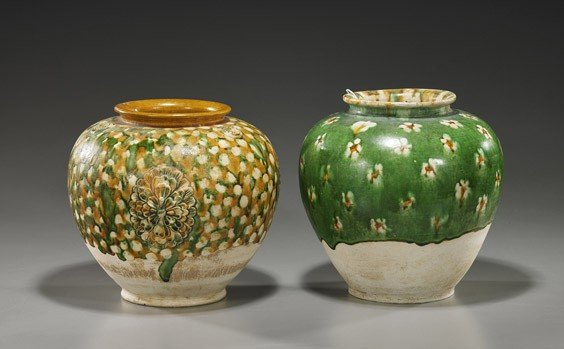 13: Two Chinese Glazed Pottery Vases