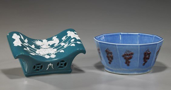 19: Two Chinese Porcelains: Pillow & Bowl