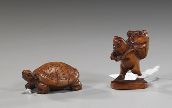 21: Two Carved Wood Netsuke: Animals