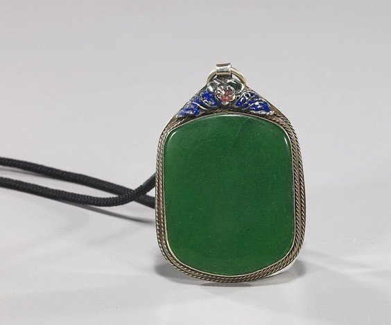 71: Old Chinese Silver & Hardstone Pendant