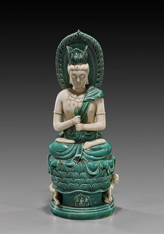 102: Chinese Parcel Glazed Porcelain Bodhisattva