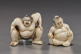 Two Carved Ivory Netsuke: Samurai