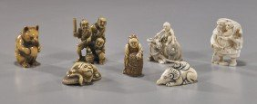 Group Of 7 Various Carved Ivory Netsuke