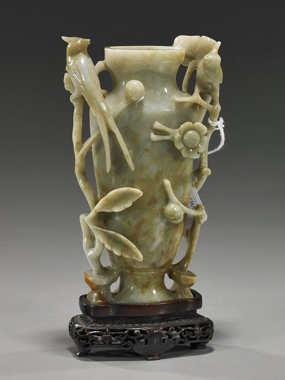 182: Chinese Carved Celadon Jade Urn