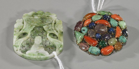 187: Two Chinese Items: Jadeite Pendant & Brooch