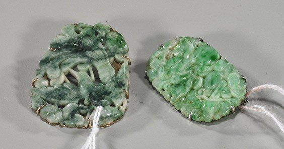 192: Two Chinese Carved Jadeite Brooches