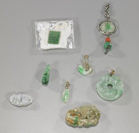 Group Of Old Chinese Carved Jadeite Jewelry