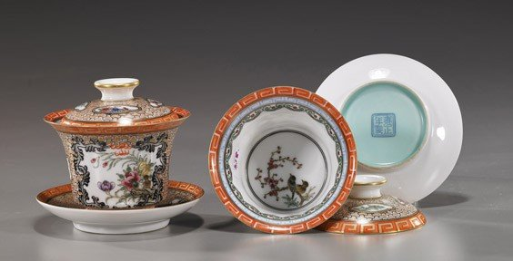 218: Pair Chinese Porcelain Covered Bowl Sets