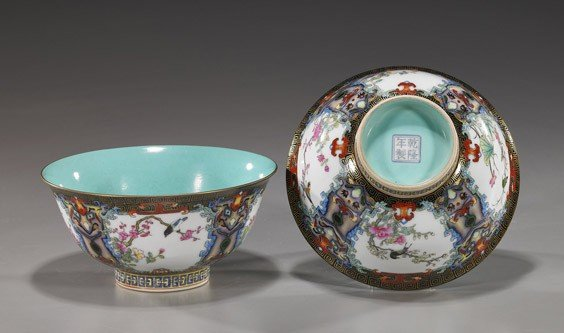 221: Pair Chinese Famille Rose Porcelain Bowls