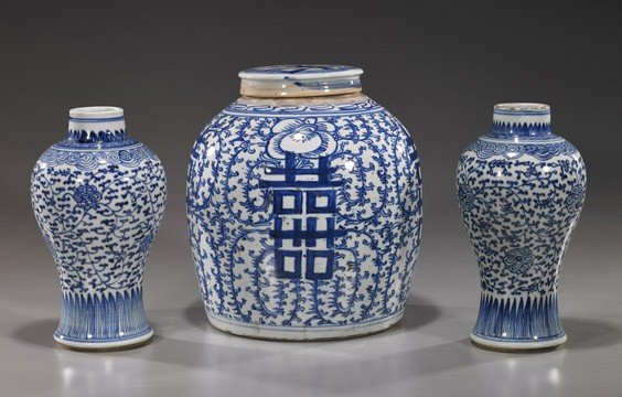 224: Three Antique Chinese Blue & White Porcelains