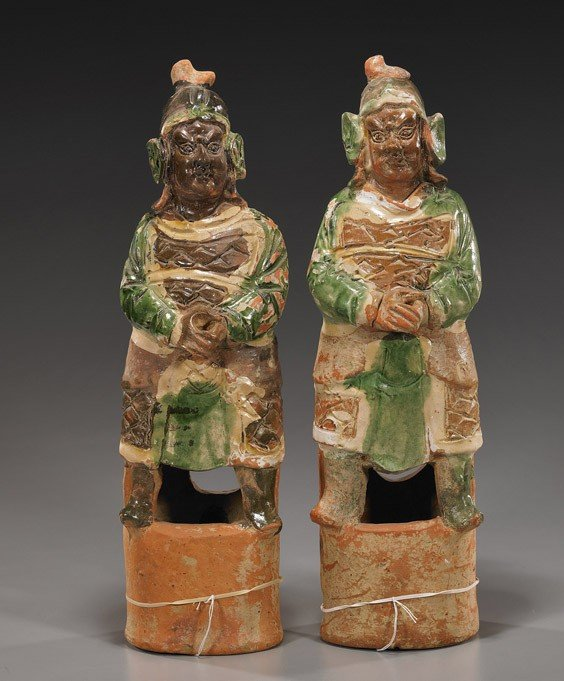 226: Pair Yuan/Ming Glazed Pottery Figures