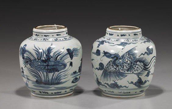 227: Two Antique Blue & White Porcelain Jars