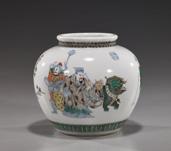 229: Chinese Famille Verte Globular Porcelain Jar