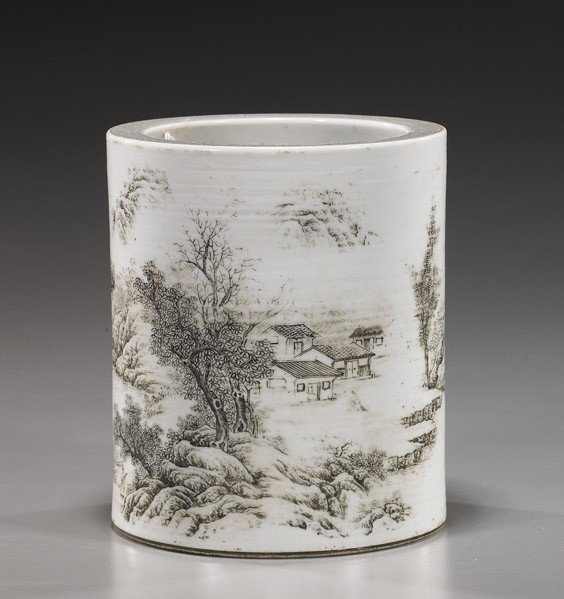 230: Chinese Cylindrical Porcelain Brushpot
