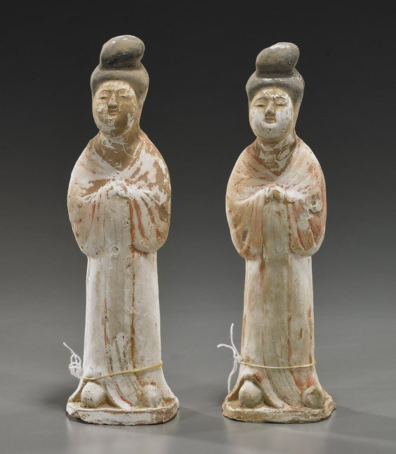 236: Pair Tang Dynasty Pottery Court Ladies