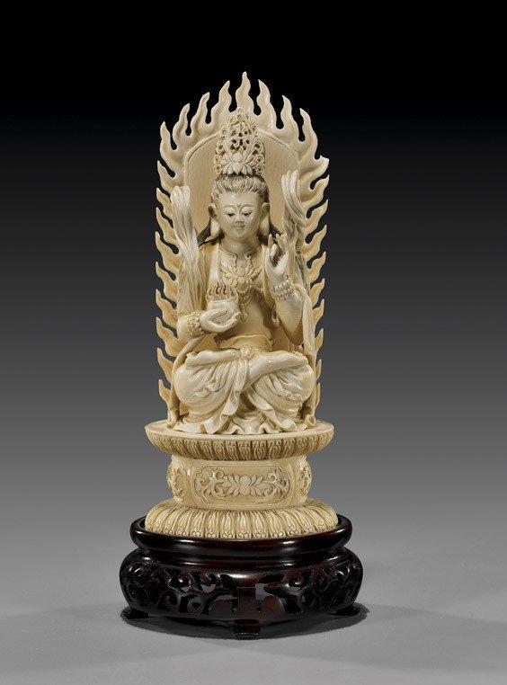 393: Chinese Carved Ivory Bodhisattva