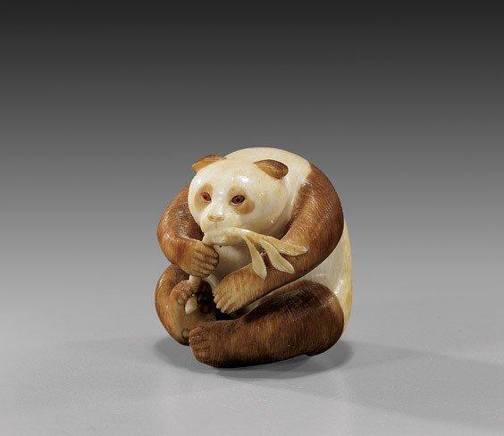 CONTEMPORARY IVORY NETSUKE: Panda