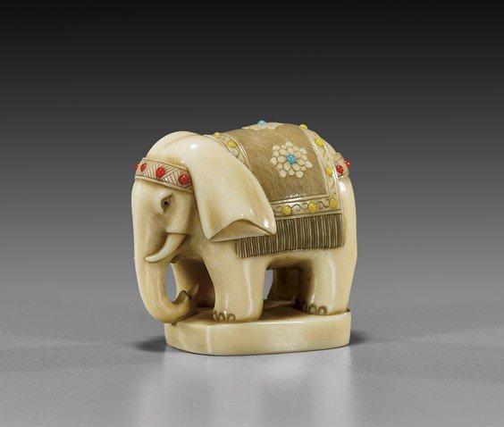 CONTEMPORARY IVORY NETSUKE: Elephant