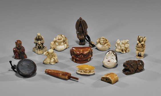 GROUP OF 15 OLD & ANTIQUE NETSUKE