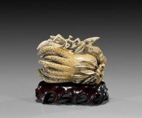 CARVED IVORY BUDDHA'S HAND CITRON