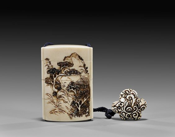 THREE-CASE CARVED IVORY INRO SUITE