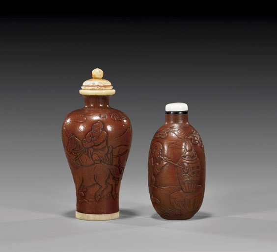 TWO MOULDED GOURD SNUFF BOTTLES