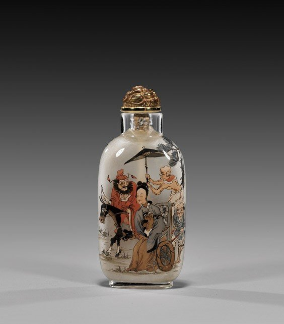 ANTIQUE INSIDE PAINTED GLASS SNUFF BOTTLE