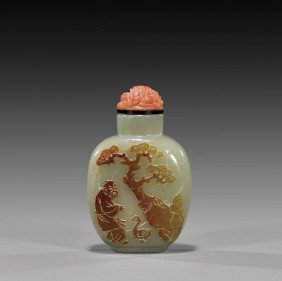 CAMEO CARVED JADE SNUFF BOTTLE