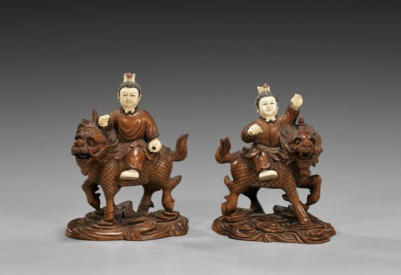 PAIR CARVED BOXWOOD & IVORY FIGURES