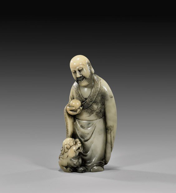 CHINESE CARVED SOAPSTONE LOHAN