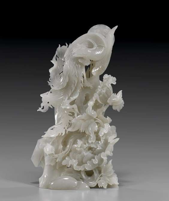 CHINESE CARVED WHITE JADE GROUP