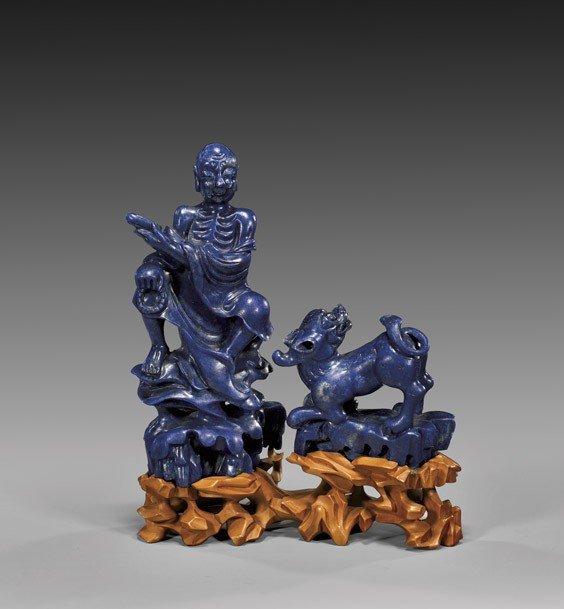 TWO LAPIS LAZULI CARVINGS: Figure & Qilin